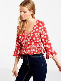 Red Haden Floral Wrap Ruffle Top