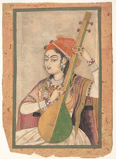 A Lady Playing the Tanpura.  Date: ca. 1735  Culture: India(Rajasthan, Kishangarh)   Medium: Ink, gold, opaque, and transparent watercolor on paper
