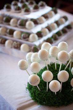 Golf Ball Cake Pops... my bf would love me forever..