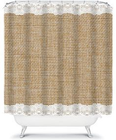 Simple Burlap And Lace Shower Curtain Beautiful Home Decor Bathroom