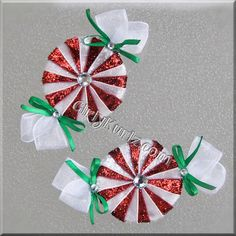 GLITTER Red Peppermint Candy Hair Bow Christmas Hair Bow Christmas Hair Clip