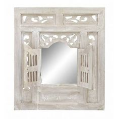 Vintage White Washed Wooden Window Wall Decor with Mirror