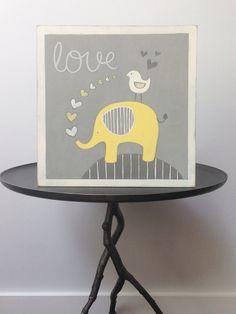 Elephant nursery decor Yellow and gray nursery by SweetBananasArt