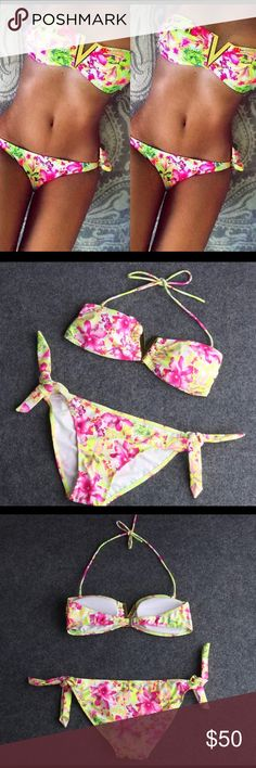 Sexy 🔥🔥🔥Floral Bikini With Gold V Cut New.  No trades. send offers through button please dont comment them. i ship between 1-2 business days. Give 24 hours for processing. Swim Bikinis