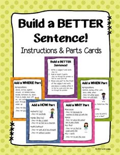 Build a Better Sentence! Cards for Upper Elementary & Midd