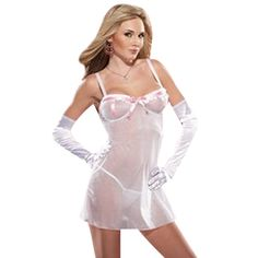 sexy See Through Chemise Lingerie. Color: PINK/WHT. Ships Immediately!. Look hot and feel pretty in our NEW Sexy See Through Chemise Lingerie. This 2 Pc. Sheer Lycra Polka Dot Trim Chemise w- G-string, sexy see through chemise lingerie for women. Features accent trim, g-string included (gloves sold separately).