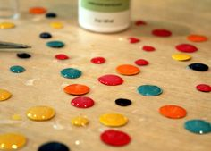 "DIY ""enamel"" dots ... punch circles from cardstock ... cover with Crystal Effects ... perfect match for your paper ..."