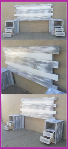 Staggering Incredible Shipping Pallet Projects Distressed Color Wooden Pallet Headboard Idea Here we have idea for you to make a classic headboard with wooden pallets. Make sure cuttings and measur. Diy Pallet Furniture, Diy Pallet Projects, Wood Projects, Home Furniture, Farmhouse Furniture, Garden Furniture, Furniture Stores, Pallet Diy Decor, Furniture Ideas