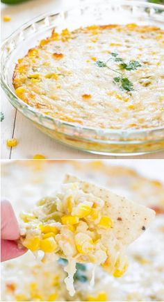Hot Cheesy Corn Dip - Two kinds of cheese, corn and green chiles make for an irresistible dip! Easy comfort food that'll be devoured!!