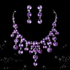 Purple Cubic Zirconia Jewelry Sets, Including Necklace and Earrings