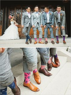 The bridesmaids will all wear different colored shoes maybe match the guys socks with the corresponding bridesmaids
