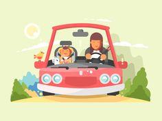 Car safe driving by Anton Fritsler Aurora, Retro Illustration, Logo Design, Flat Design, Graphic Design, Graphic Prints, Mazda, Car Seats, Character Design
