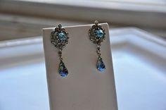 Bridal EarringsSwarovski Crystal AQUAMARINE by cynthiacouture