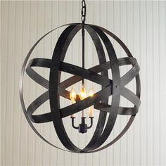 Metal Strap Globe Lantern - Shades of Light (orb, sphere light, chandelier, pendant) *industrial chic, loft, raw materials, factory, farmhouse, rustic, salvage style, vintage, urban, upcycle, recycle, reuse, found items, rust*