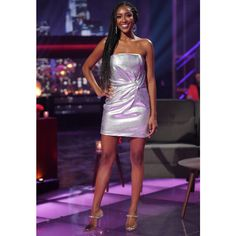 Tayshia Adams' Silver Dress on After the Final Rose | Big Blonde Hair Metallic Dress, Silver Dress, After The Final Rose, Adam Silver, Big Blonde Hair, Going For Gold, More Cute, Finals, Jimmy Choo