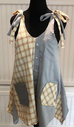 Women XL Tank Dress upcycled shirts gray orange cream plaid two pocket tank dress A line high low hem cotton light weight tank tie straps by Littlebirdproductset on Etsy Sewing Clothes, Diy Clothes, Clothes Women, Shirt Makeover, Altered Couture, Upcycled Shirts, Upcycled Clothing, Refashioned Clothing, Medieval Clothing