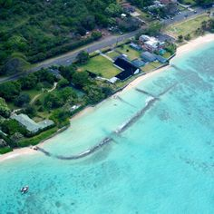 Robin's Nest, Waimanalo, Oahu, Hawaii - South east Oahu from the air.   Robin Masters estate from Magnum PI