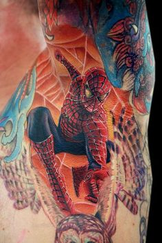 spiderman tattoo in the arm pit done with fusion ink the dragonfly tattoo machine and needles from the glove for the artist spiderman in the arm pit Spiderman Tattoo, Marvel Tattoos, Spiderman Spiderman, Amazing Spiderman, Wicked Tattoos, Love Tattoos, Body Art Tattoos, Awesome Tattoos, Space Tattoos