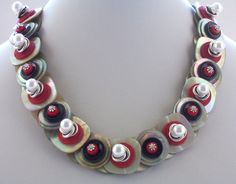 Button Necklace Red black and Mother of pearl