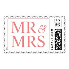 Light Coral Weddings Mr and Mrs Design Oversize Stamps