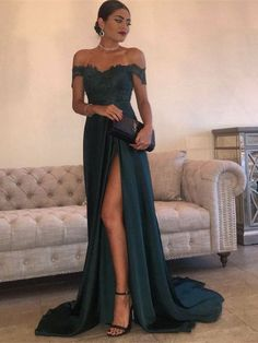 Sexy Dark Green A Line Off Shoulder Lace Prom Dress With Train #prom #promdress #prom2018 #promdress2018 #lace #lacepromdress #offshoulderpromdress