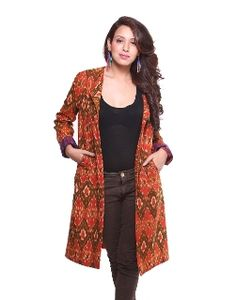 Cotton Ikat Jacket This Ikat jacket is mildly quilted; can be made without quilting as well to give a Kurta look. Can be teamed up over jeans, leggings, skirts, dhotis and salwars. Price: Rs.3800/- Product Code: CT/EC/JK01 Available @ www.curiotown.com