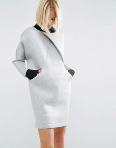 Find the best selection of ASOS WHITE Cross Front Sweater Dress. Shop today with free delivery and returns (Ts&Cs apply) with ASOS! Grey Sweater Dress, Sweatshirt Dress, Sweater Dresses, Gray Dress, Fashion Details, Fashion Design, Fashion Trends, Fashion Quiz, Hijab Style
