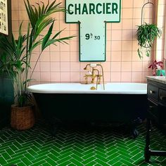 Inspiration comes from the gorgeously green bathroom of @maxmademedoit 1930s House, Herringbone Tile, Interior And Exterior, Neutral Tile, Green Tile, Upstairs Bathrooms, Handmade Tiles, Green Bathroom, Pink Tiles