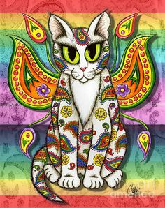 Rainbow Paisley Fairy Cat - Fine Art America Pixels, Carrie-Hawks.Pixels.com   Copyright - Carrie Hawks, Tigerpixie Fantasy Cat Art. More Prints, Jewelry & Gift Items featuring this image are available on my website - Tigerpixie.com