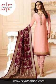 5354199bac220 Siya #Fashion #Designer Light Pink #Embroidered Work #Straight #Suit. Top