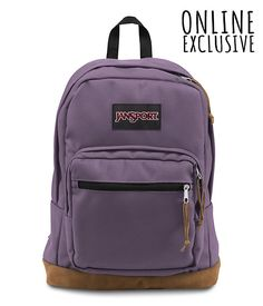 With it's signature suede leather bottom, the JanSport Right Pack is the iconic backpack. With an internal 15 inch laptop sleeve and front organizer pocket, the Right Pack is sure to be the best backpack for wherever your day takes you.