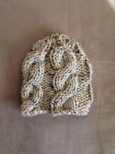 Heathered Cream Cable Knit Baby Hat by MnStyle on Etsy, $30.00