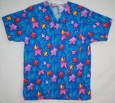 Women's Peaches Happy Stars Blue Scrub Top XS Short Sleeve 4144 SSTR