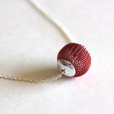 Metal mesh necklace bead in red by Bunnys on Etsy, $16.00