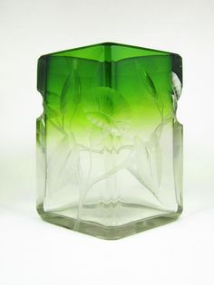 Antique Bohemian Moser Intaglio Engraved Art Glass Green to Clear Vase ca. 1905