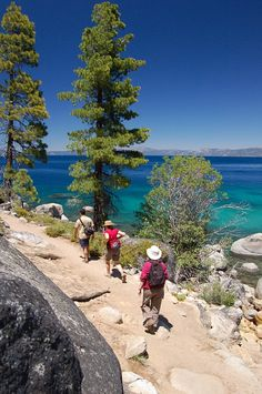 The Rubicon Trail on Lake Tahoe.Lake Tahoe is one of my favorite places on Earth and hiking is awesome too! Please go at least one time- Lake Tahoe is one of the most beautiful places I've seen! Dream Vacations, Vacation Spots, Vacation Ideas, Shoreline Lake, West Usa, Places To Travel, Places To See, Rubicon Trail, Seen