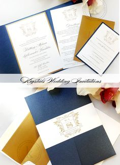 The Brittany Monogram Pocketfold Wedding Invitation Suite - Krystals Wedding Invitations #weddings #weddinginvitation