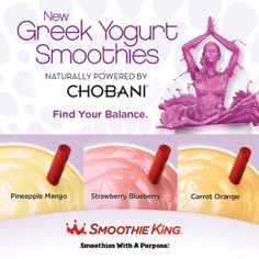 Smoothie King Renaissance at Colony Park 1000 Highland Colony Park Ridgeland, MS 39157 Strawberry Blueberry, Strawberry Smoothie, Yogurt Smoothies, Chobani Greek Yogurt, Orange Smoothie, Smoothie King, How To Slim Down, Healthy Weight, Health And Wellness