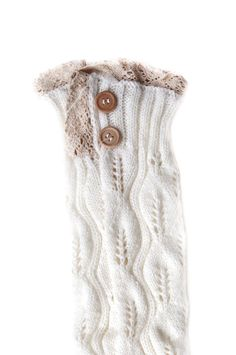 Women's Thick Knit Lace, Patterned, or Fluff End Leg Warmers (White_LongButton_G). Constructed of a Soft & Warm Cotton / Polyester Blend. Knitted in Custom Pattern Designs. Accented with White Lace Frill. Comfortably Secures with Large Buttons || Available in 3 Attractive Styles and Tons of Amazing Colors. SIZING INFORMATION AVAILABLE BELOW IN PRODUCT DESCRIPTION SECTION.