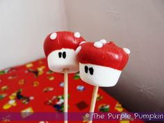 ~Mario Mushroom Marshmallow Pops for a Nintendo Party!~ I know what I'm making later today!