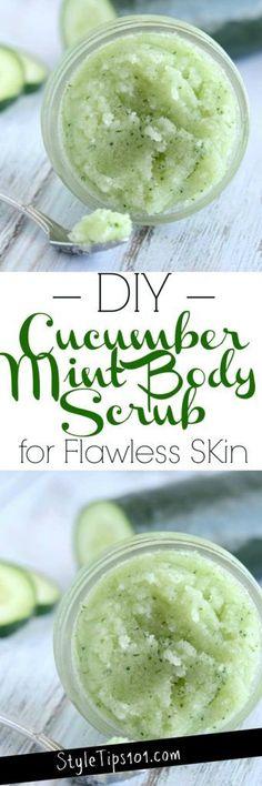 DIY Cucumber Mint Body Scrub#scrub#