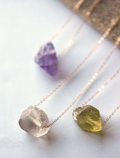 Raw Gemstone and Gold Necklace Rough Gemstone by MakiYDesign, $30