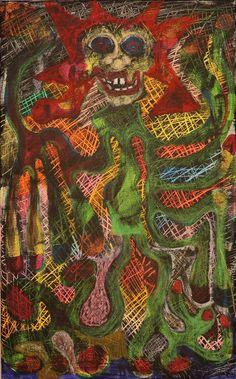 Joker Five / Maarit Korhonen, acrylic, oil pastels, canvas, 73cm x 45cm Dark Paintings, Original Paintings, Online Painting, Artwork Online, Dancer In The Dark, Tree People, Autumn Painting, Original Art For Sale, Artists Like