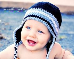 Baby Boy Crochet Hats | Crochet Hat Pattern Baby Boy Crochet Hat Earflap Beanie Five Stripe ...