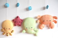 Four cute sea creatures - octopus, whale, starfish and crab