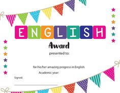 End of Year English Award Certificate - (Editable) by Hot Chocolate Printables Award Template, Certificate Design Template, Kids Awards, Creative Birthday Cards, English Projects, Star Students, Kindergarten, Award Certificates, Hard Work And Dedication
