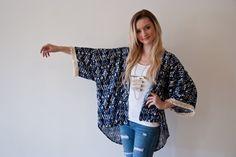 Navy Blue Kimono / Fringe Trim Kimono / Boho