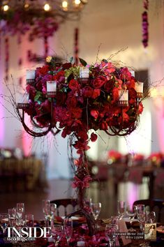 romantic red winter wedding centerpiece