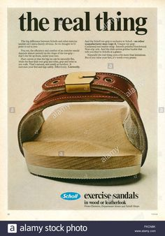 Scholls were known as 'exercise sandals' that were bought at the chemist. Meant to make your legs and feel stronger. They disappeared for awhile but have re-emerged in recent years in a re-invented version. Dr Scholls Sandals, Clogs, Magazine Advert, Wooden Sandals, Clog Sandals, Womens Flip Flops, 1970s, Vectors, Stock Photos