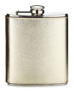 H80VD Neiman Marcus Boxed Saffiano Stainless Steel Flask, Gold